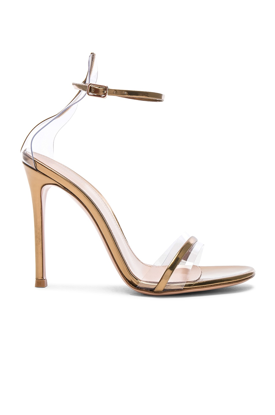 Image 1 of Gianvito Rossi Leather Plexi G-String Heels in Metal Mekong & Transparent