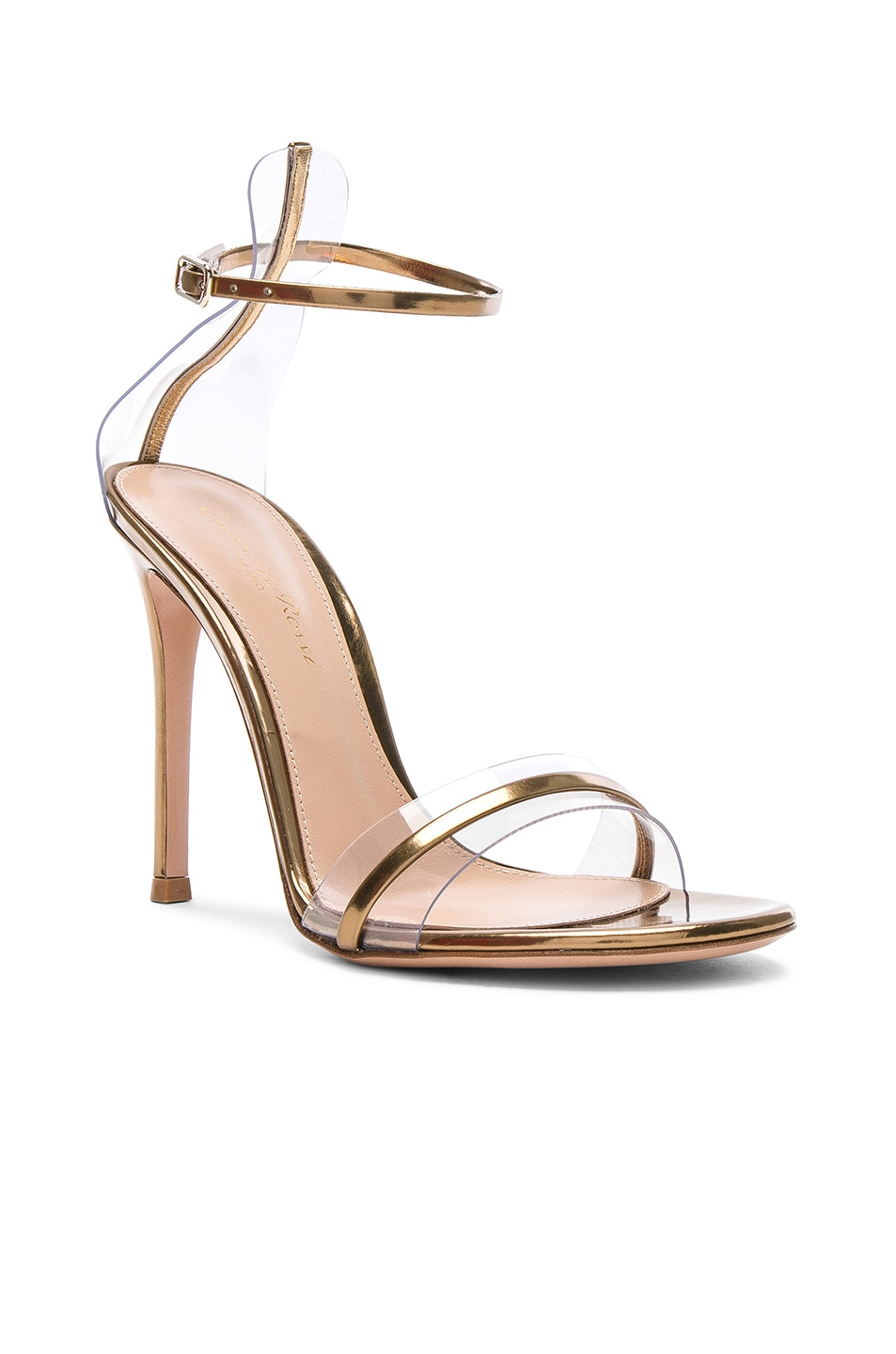 Image 2 of Gianvito Rossi Leather Plexi G-String Heels in Metal Mekong & Transparent