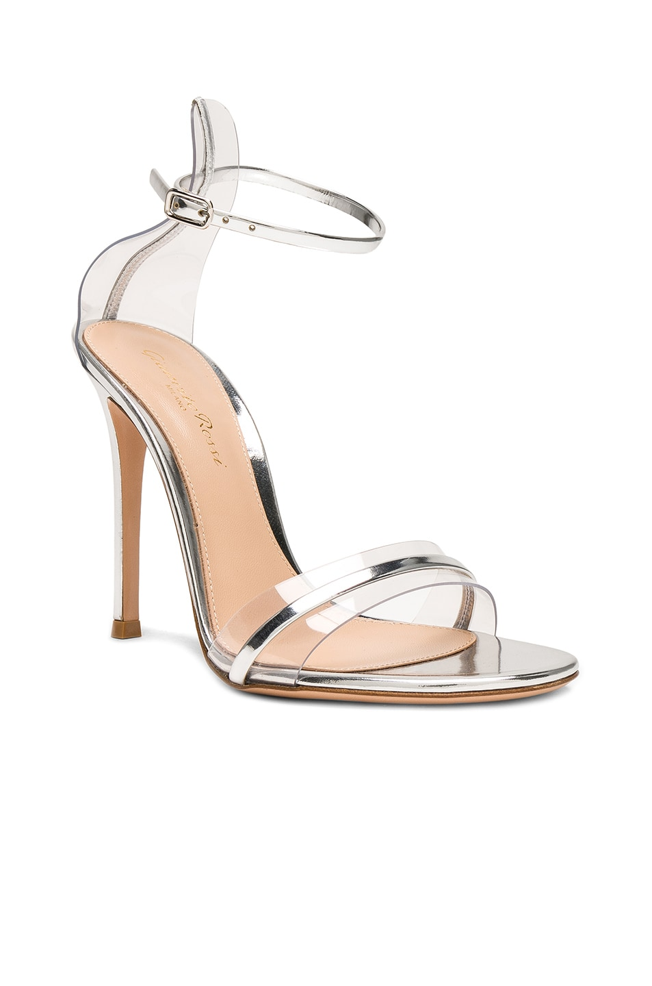 Image 2 of Gianvito Rossi Leather Plexi G-String Heels in Metal Silver & Transparent