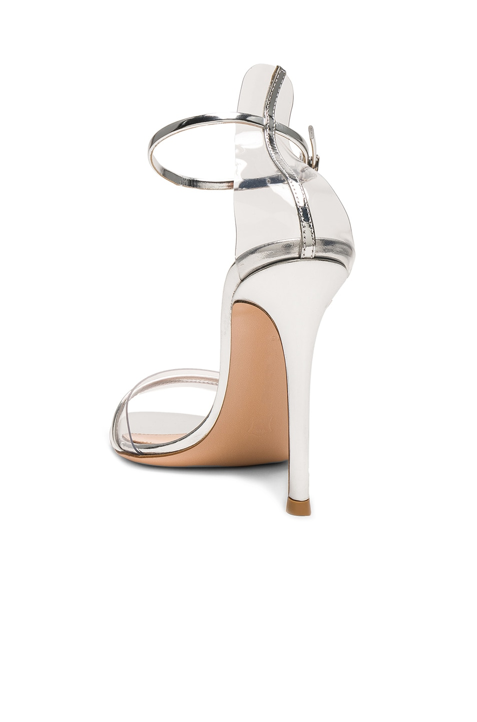 Image 3 of Gianvito Rossi Leather Plexi G-String Heels in Metal Silver & Transparent