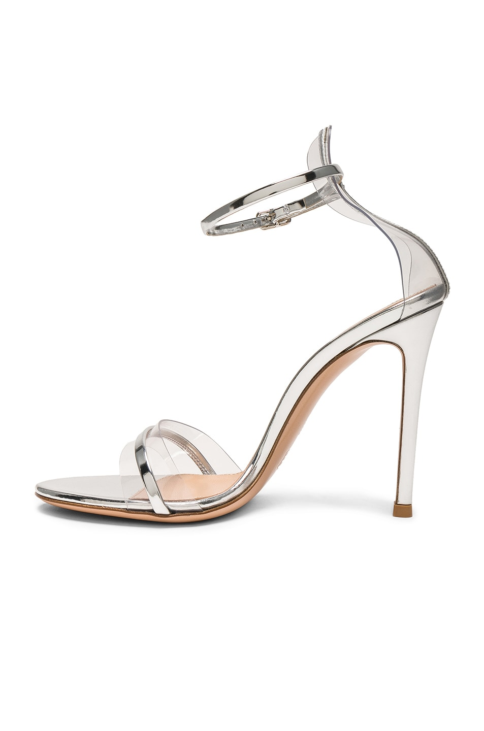 Image 5 of Gianvito Rossi Leather Plexi G-String Heels in Metal Silver & Transparent