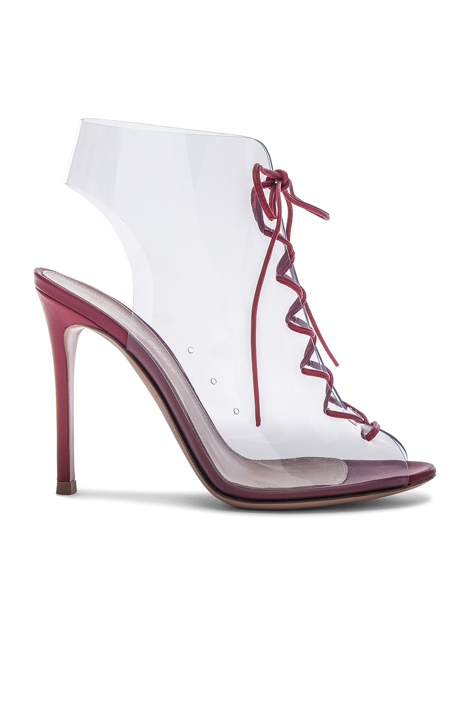 35fccec2c14 Image 1 of Gianvito Rossi Leather   Plexi Helmut Lace Up Booties in Tabasco  Red