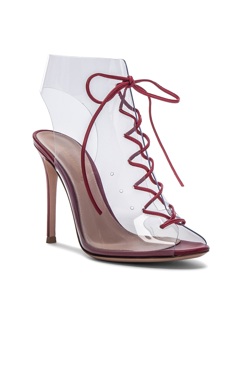 Image 2 of Gianvito Rossi Leather & Plexi Helmut Lace Up Booties in Tabasco Red & Transparent