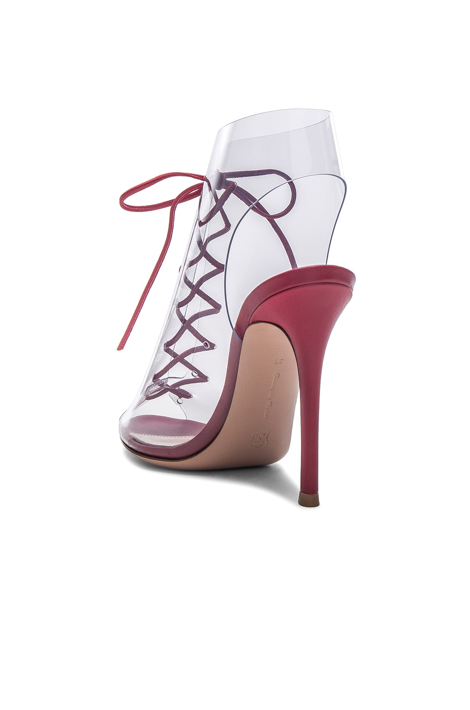 Image 3 of Gianvito Rossi Leather & Plexi Helmut Lace Up Booties in Tabasco Red & Transparent