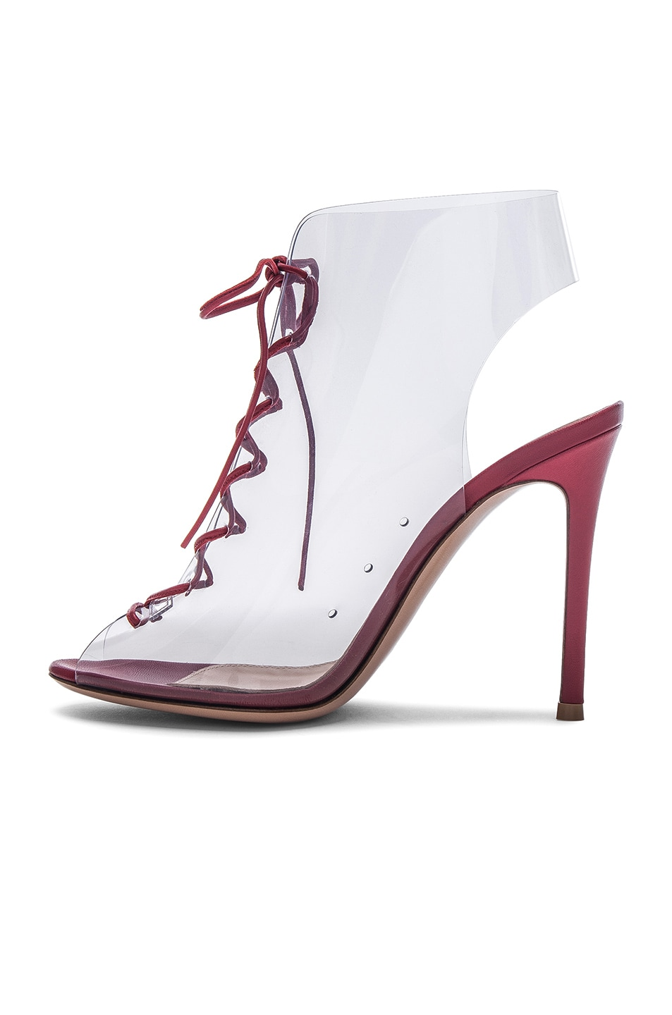 Image 5 of Gianvito Rossi Leather & Plexi Helmut Lace Up Booties in Tabasco Red & Transparent