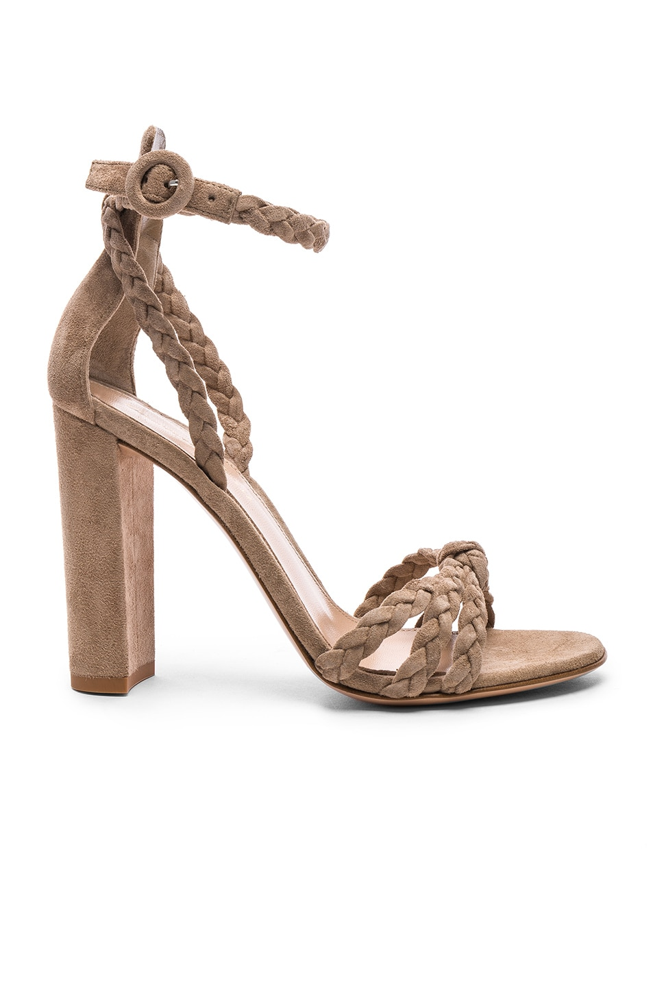 Gianvito Rossi For FWRD Suede Liya Braided Strap Heels in Neutrals. w21zrY