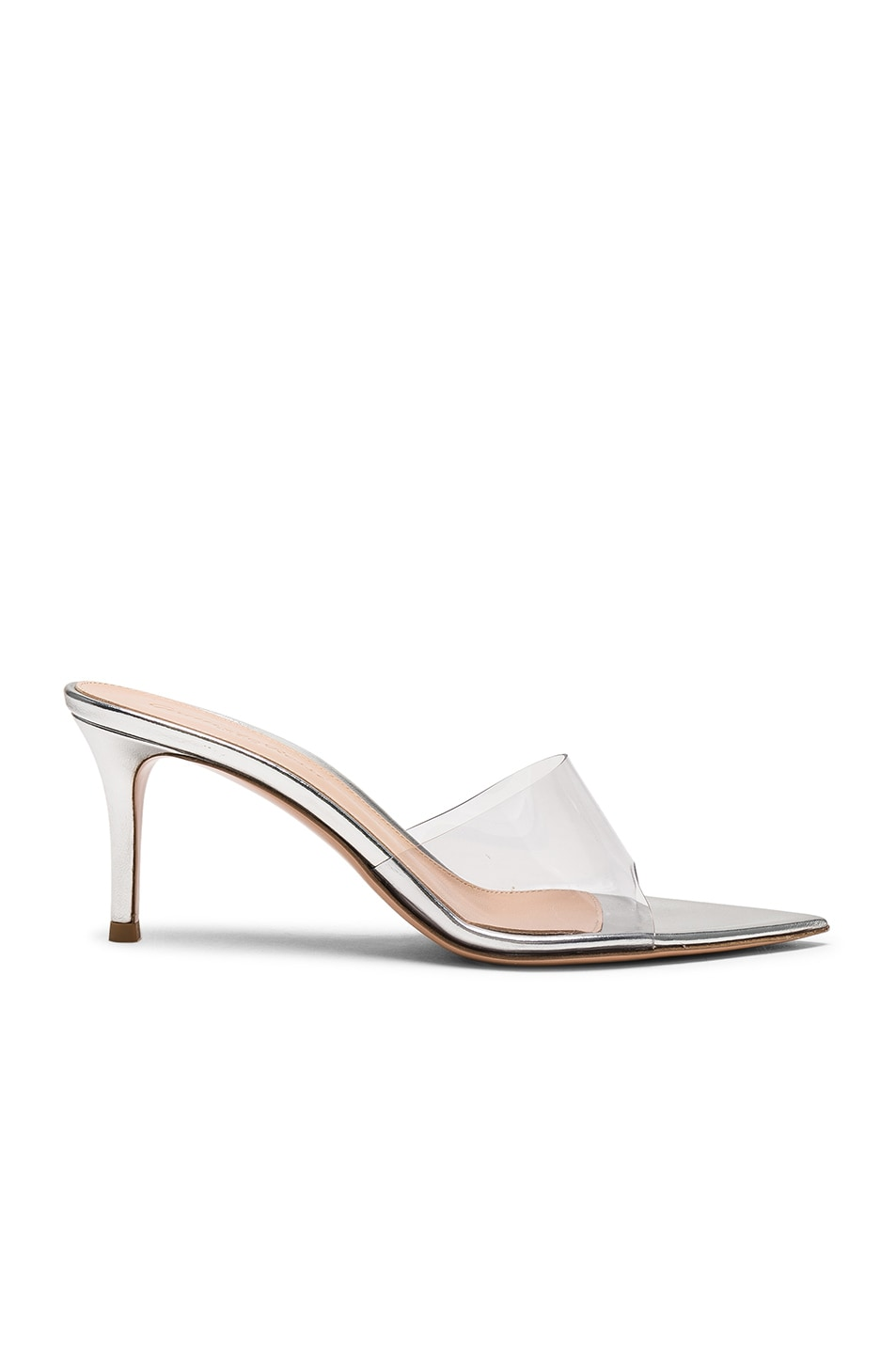 Image 1 of Gianvito Rossi Nappa Silk & Plexi Mules in Silver & Transparent