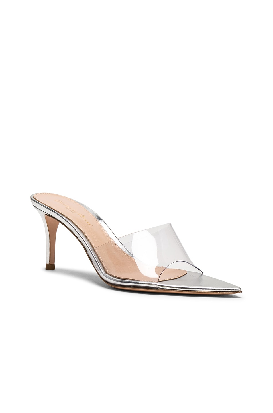 Image 2 of Gianvito Rossi Nappa Silk & Plexi Mules in Silver & Transparent
