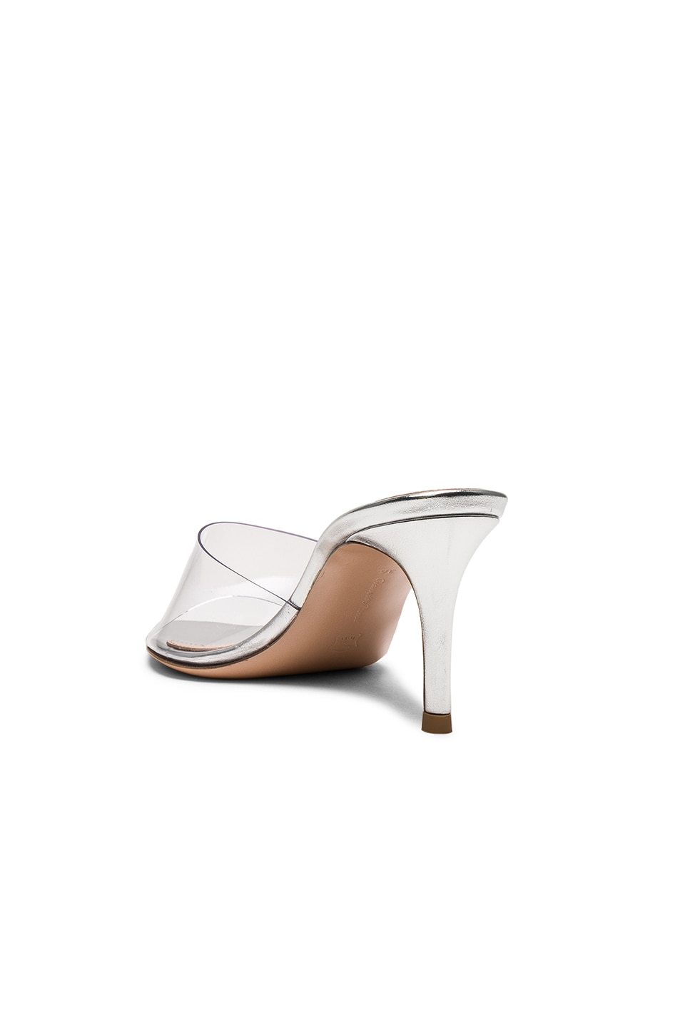 Image 3 of Gianvito Rossi Nappa Silk & Plexi Mules in Silver & Transparent