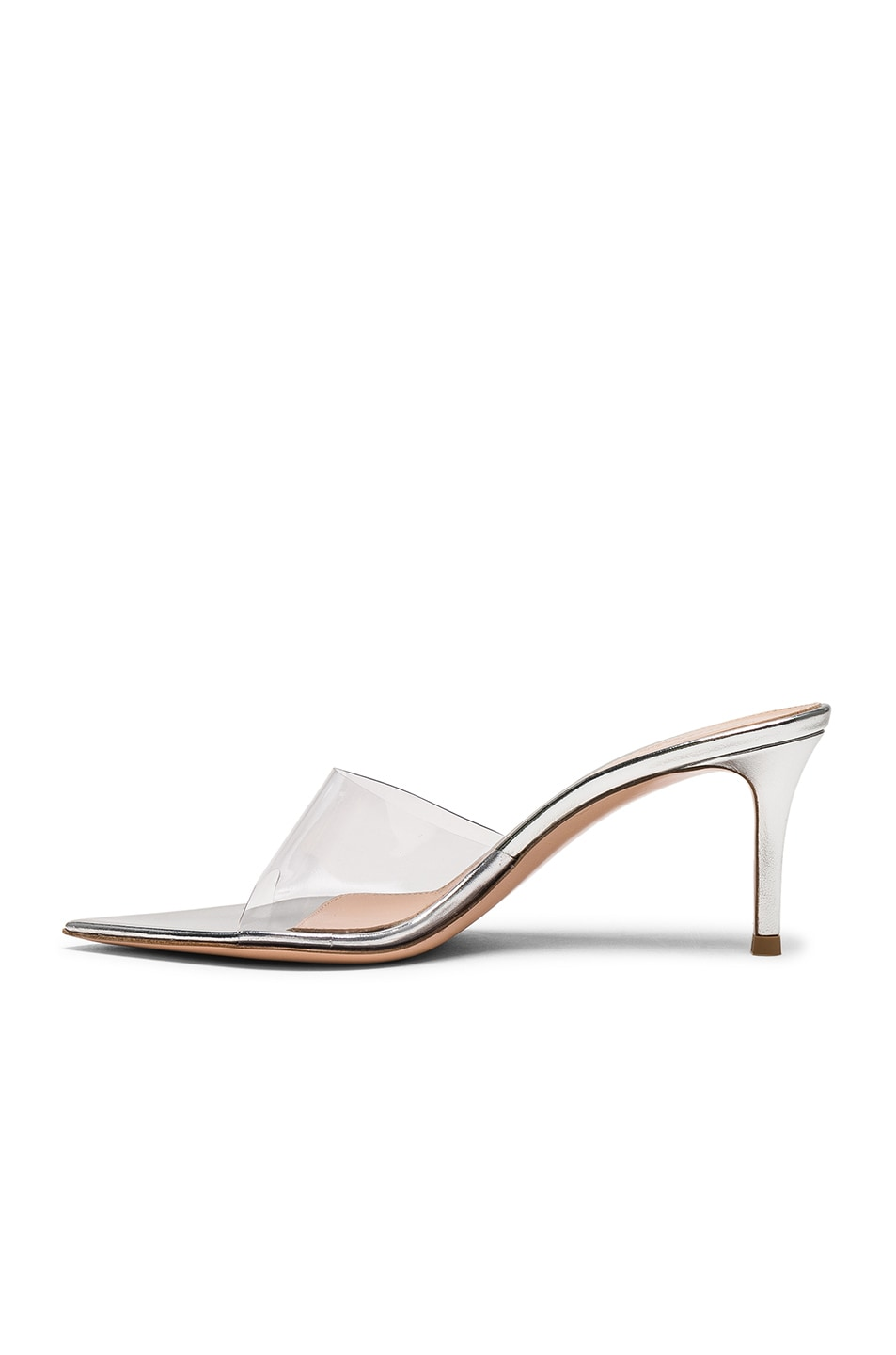 Image 5 of Gianvito Rossi Nappa Silk & Plexi Mules in Silver & Transparent