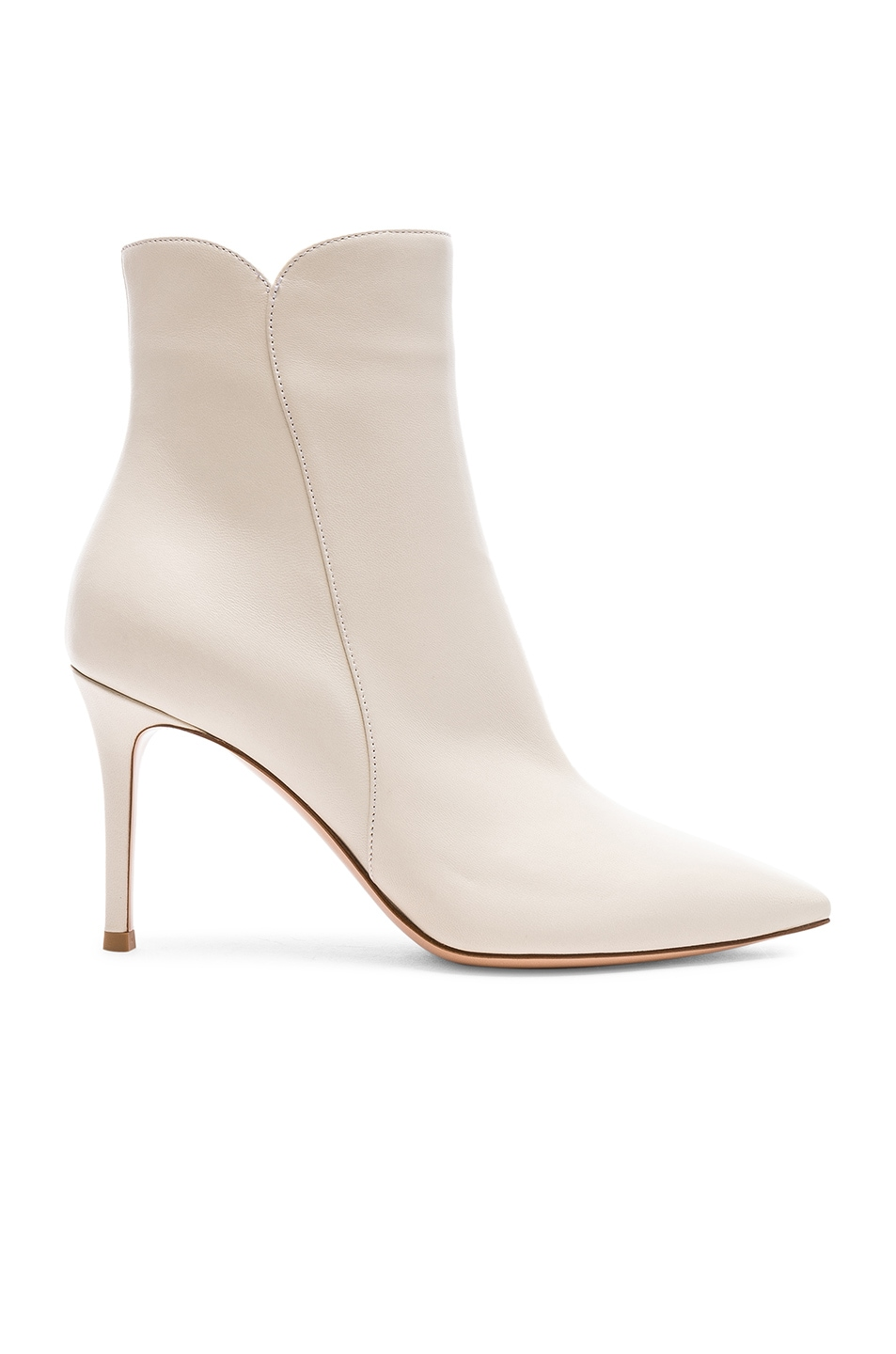Image 1 of Gianvito Rossi Nappa Leather Levy Ankle Boots in Off White