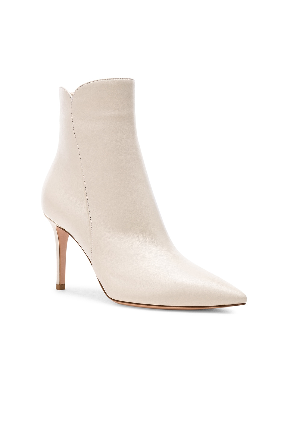 Image 2 of Gianvito Rossi Nappa Leather Levy Ankle Boots in Off White