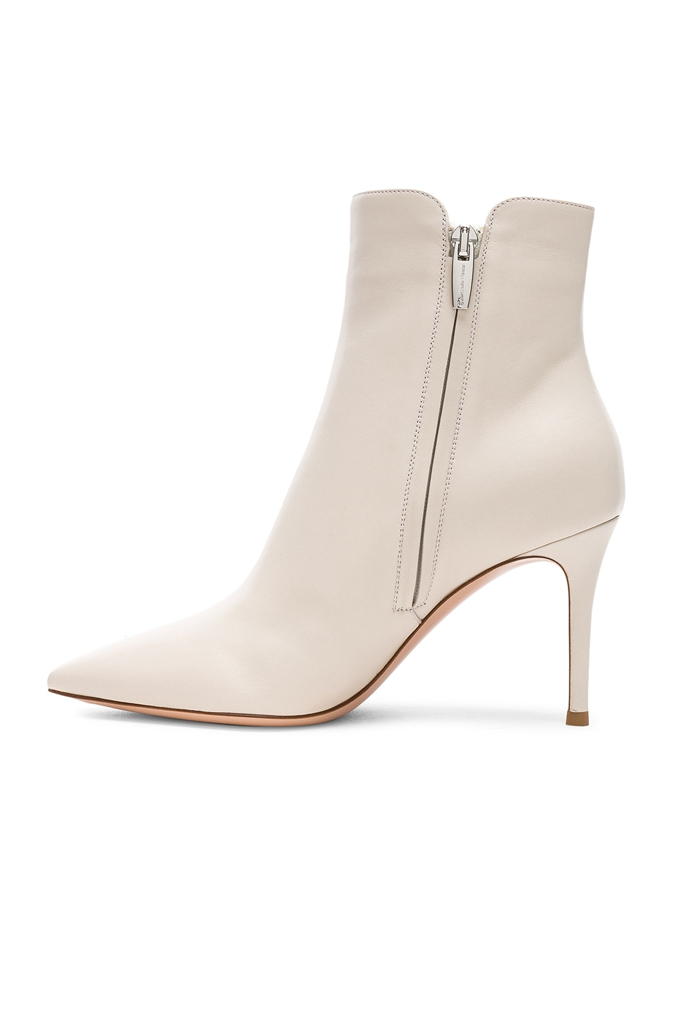Image 5 of Gianvito Rossi Nappa Leather Levy Ankle Boots in Off White