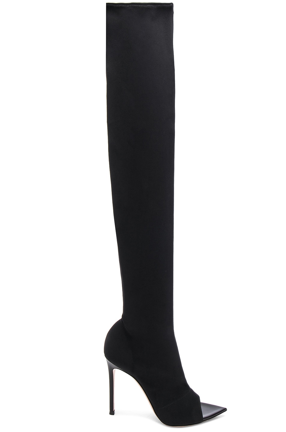 Image 1 of Gianvito Rossi Gotham Cuissard Peep Toe Thigh High Boots in Black & Black