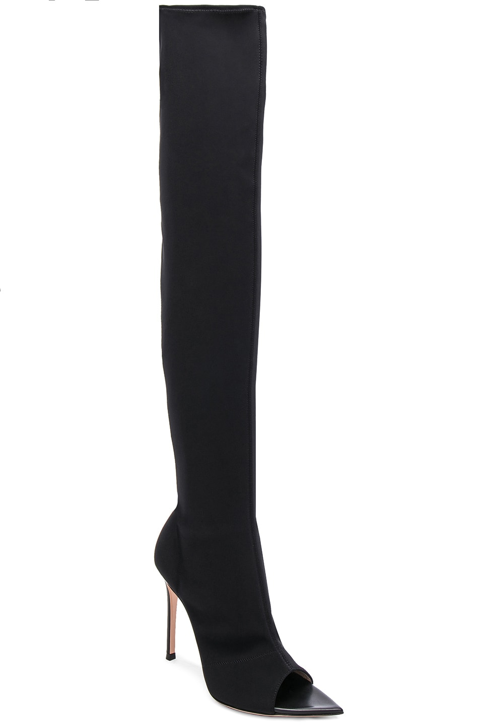 Image 2 of Gianvito Rossi Gotham Cuissard Peep Toe Thigh High Boots in Black & Black