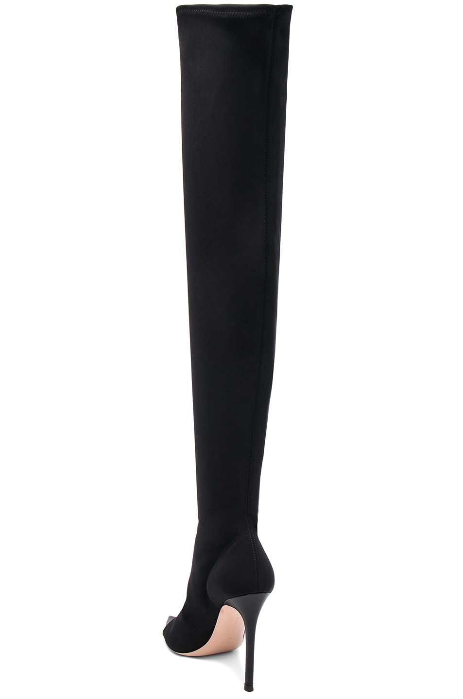 Image 3 of Gianvito Rossi Gotham Cuissard Peep Toe Thigh High Boots in Black & Black