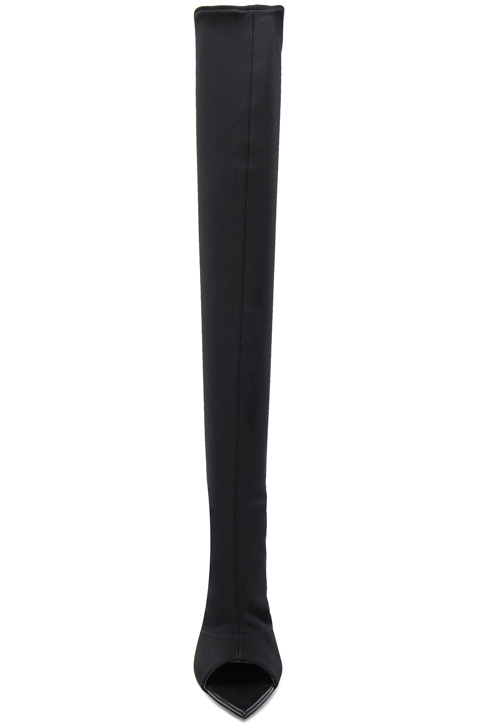 Image 4 of Gianvito Rossi Gotham Cuissard Peep Toe Thigh High Boots in Black & Black