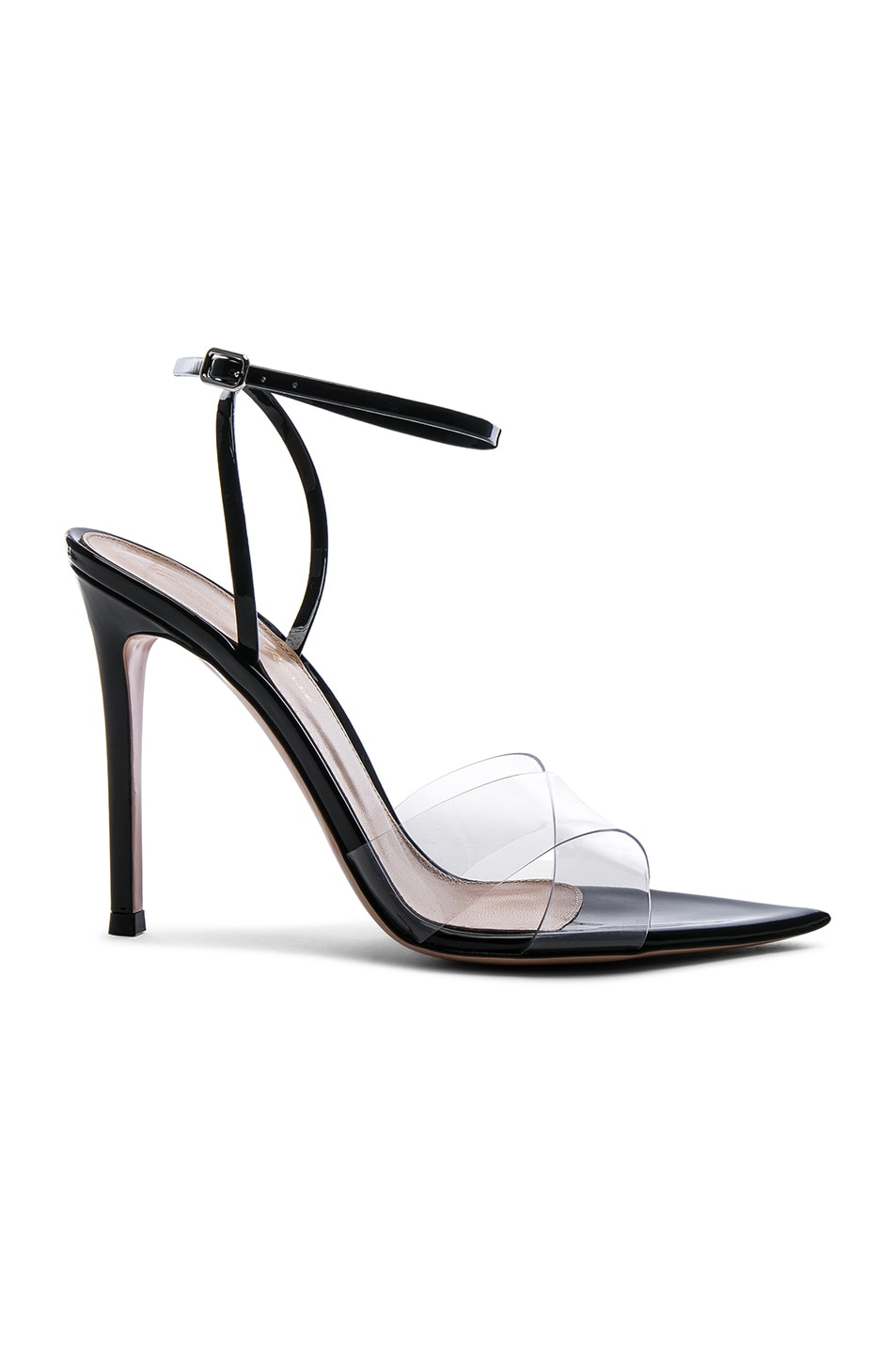 Image 1 of Gianvito Rossi Patent & Plexi Ankle Strap Stark Sandals in Transparent & Black