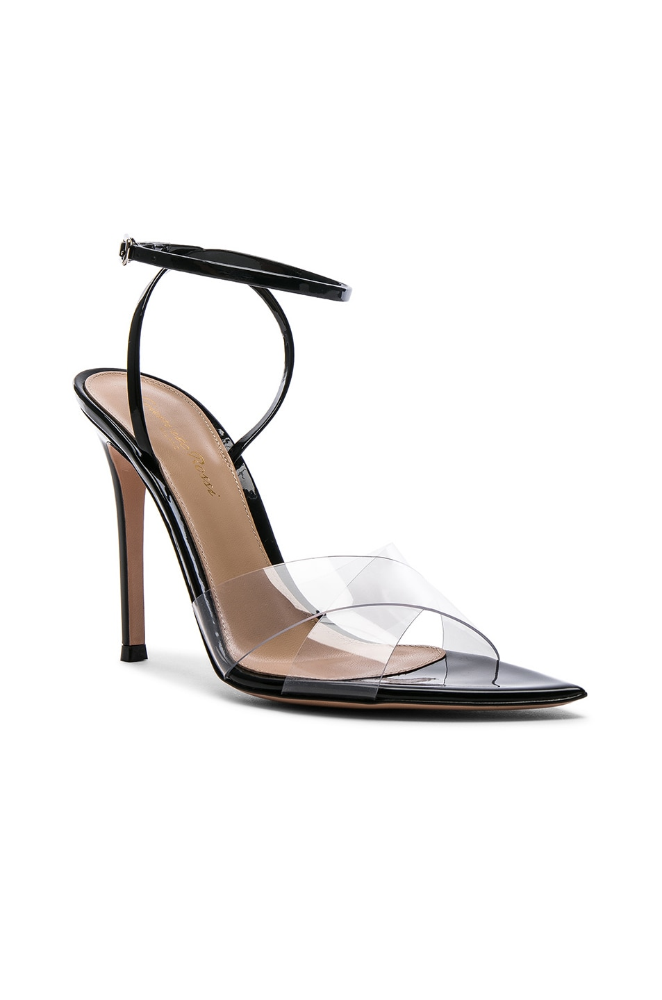 Image 2 of Gianvito Rossi Patent & Plexi Ankle Strap Stark Sandals in Transparent & Black