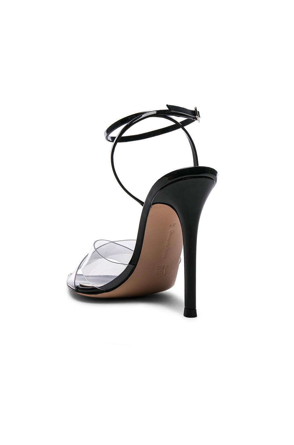 Image 3 of Gianvito Rossi Patent & Plexi Ankle Strap Stark Sandals in Transparent & Black
