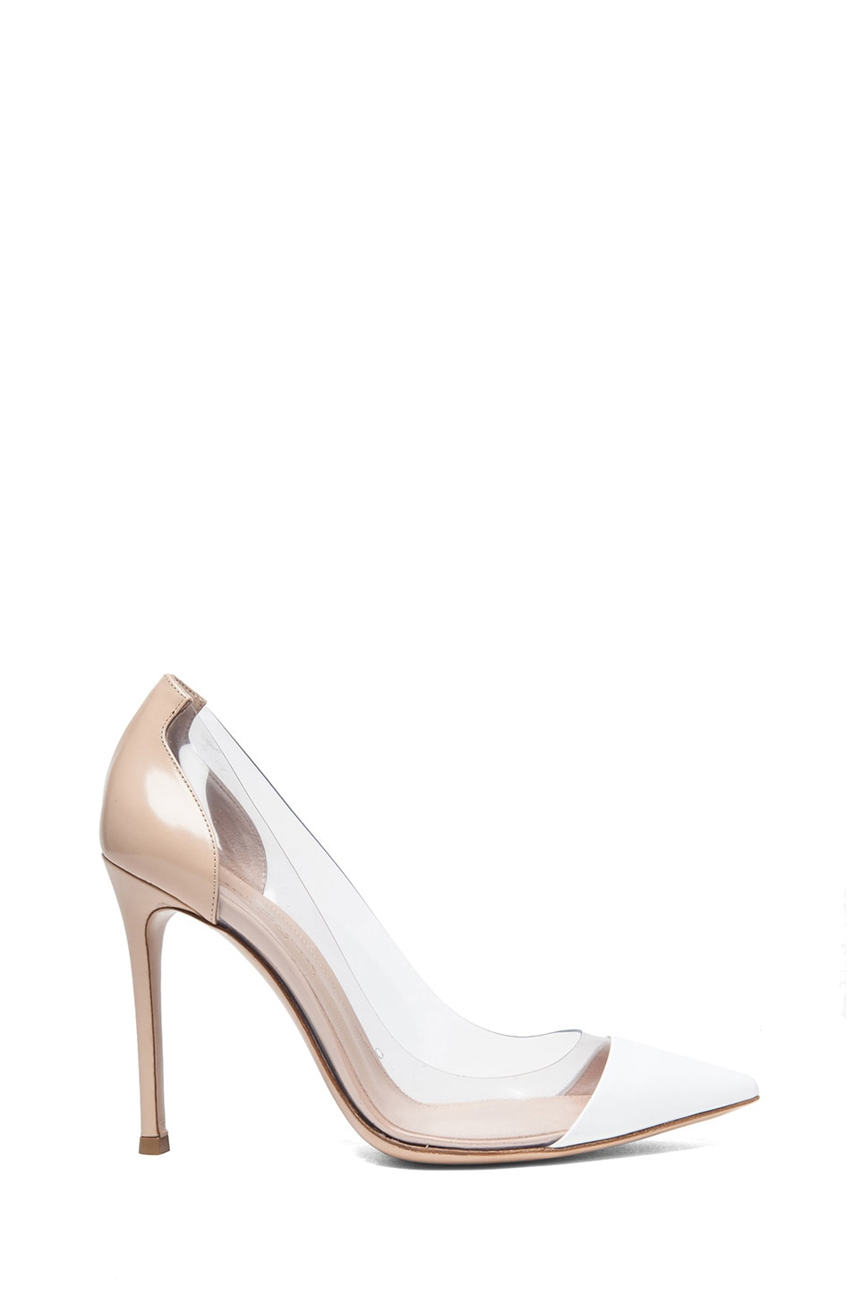 Image 1 of Gianvito Rossi Leather & Plexy Pumps in Tan