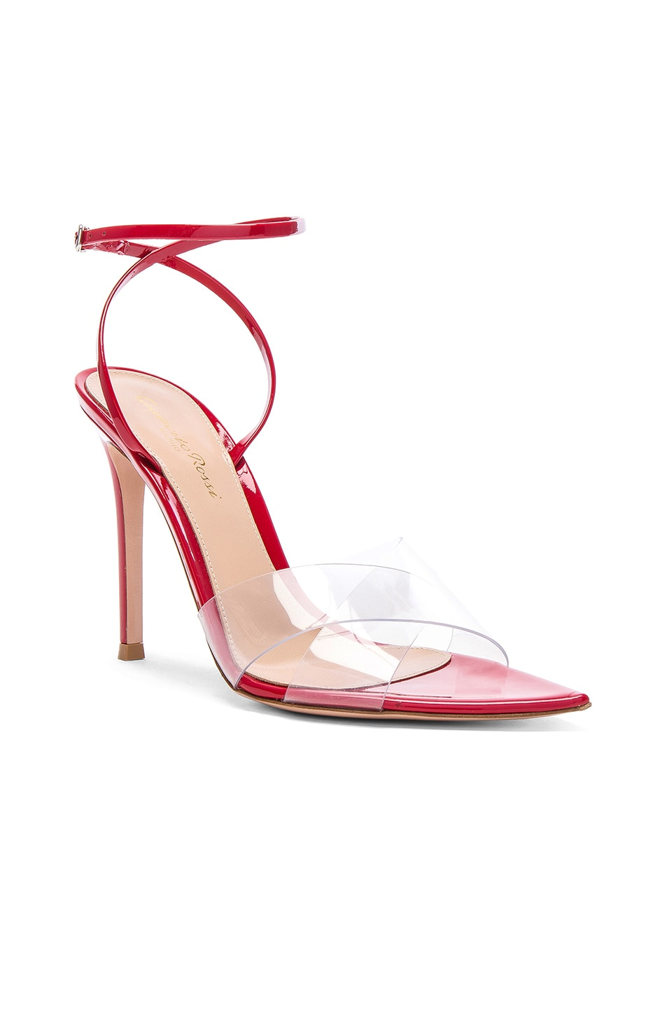 Image 2 of Gianvito Rossi Patent & Plexi Stark Ankle Strap Sandals in Transparent & Tabasco Red
