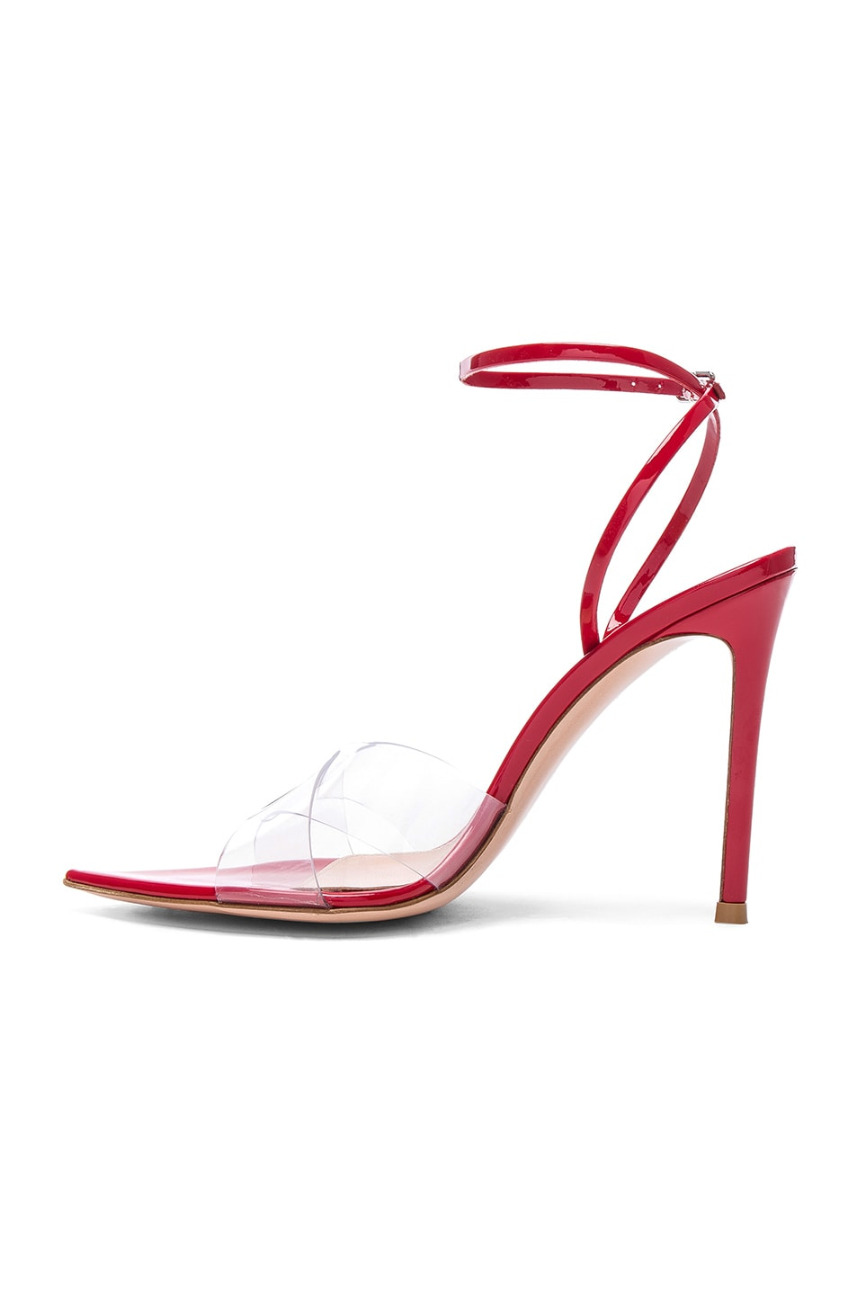 Image 5 of Gianvito Rossi Patent & Plexi Stark Ankle Strap Sandals in Transparent & Tabasco Red