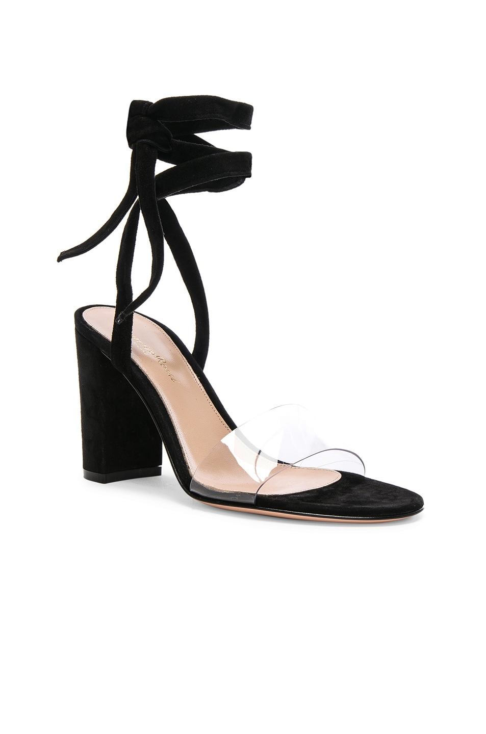 Image 2 of Gianvito Rossi Leather & Plexi Strappy Sandals in Transparent & Black