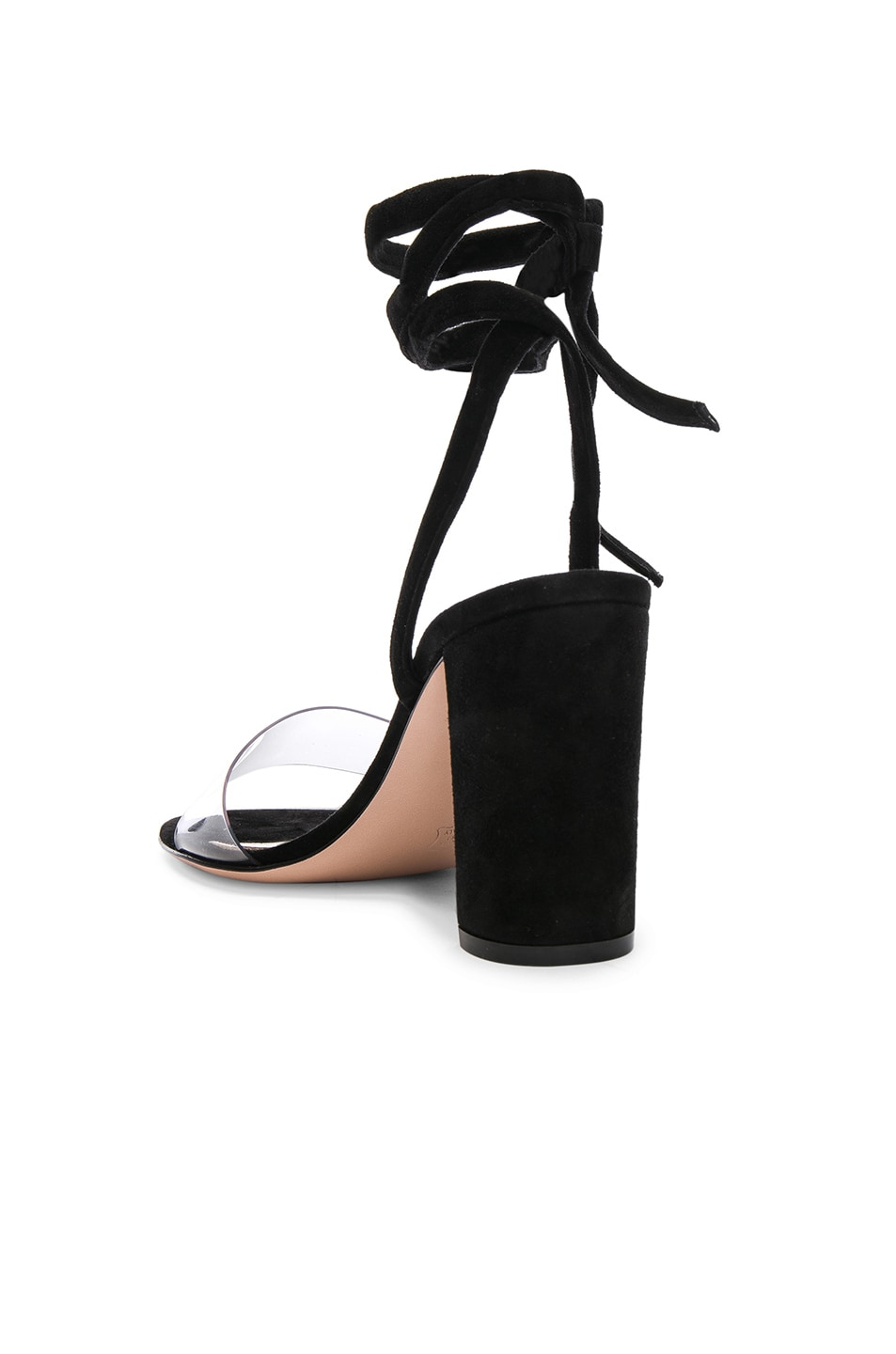 Image 3 of Gianvito Rossi Leather & Plexi Strappy Sandals in Transparent & Black