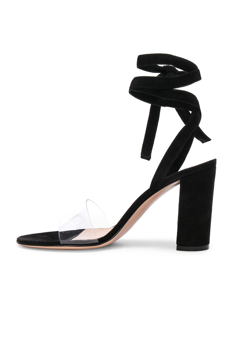 Image 5 of Gianvito Rossi Leather & Plexi Strappy Sandals in Transparent & Black