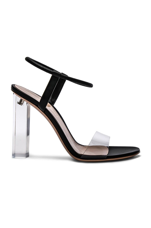 Image 1 of Gianvito Rossi Leather & Plexi Hanne Sandals in Transparent & Black