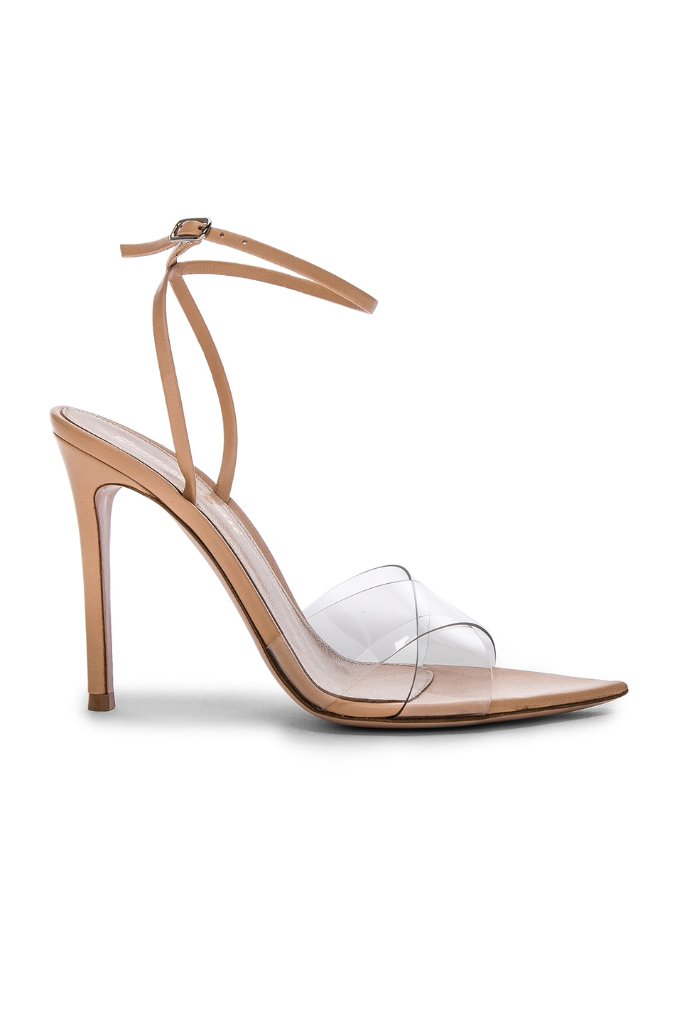 Image 1 of Gianvito Rossi Leather & Plexi Stark Ankle Strap Sandals in Transparent & Nude