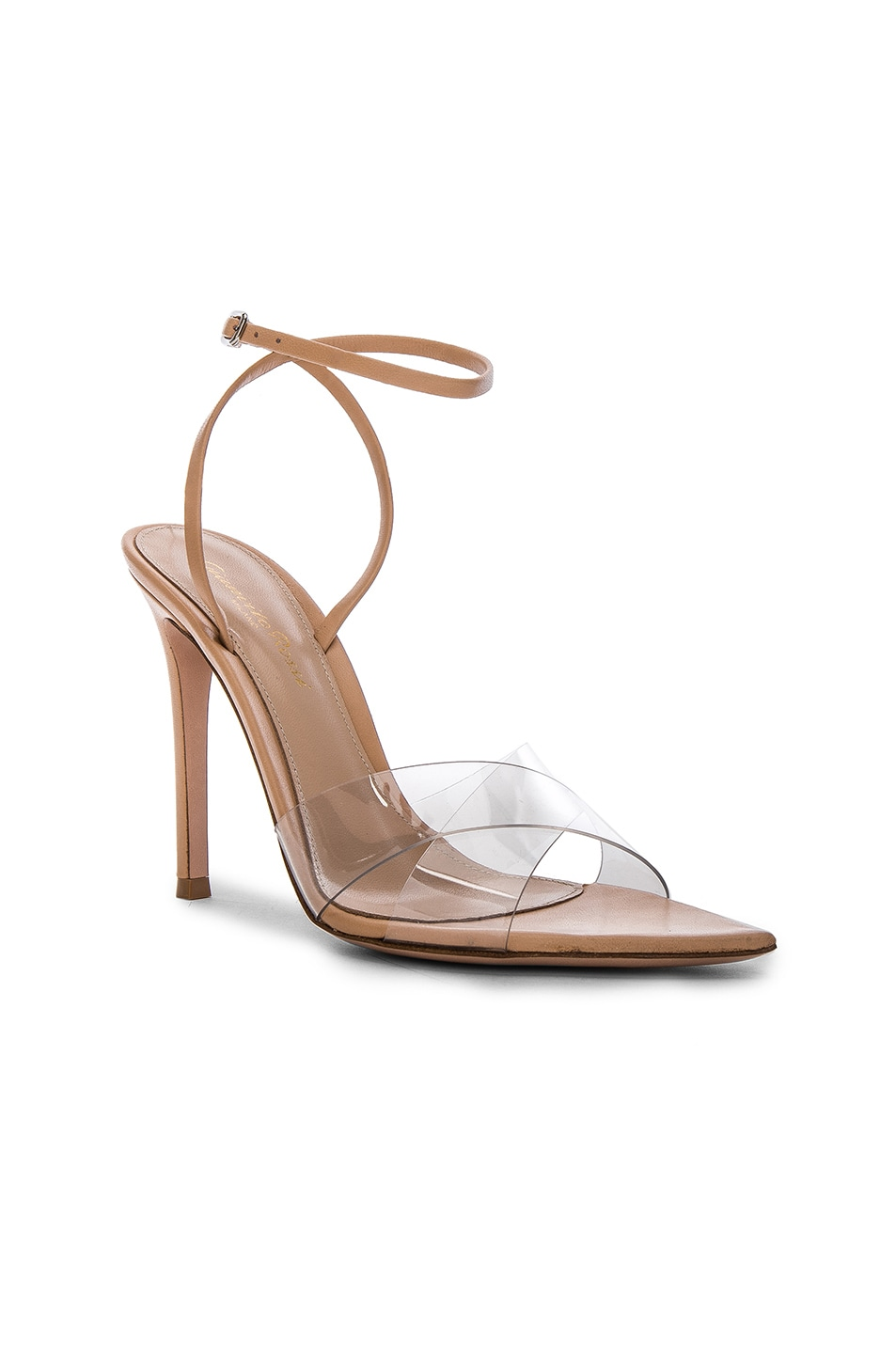 Image 2 of Gianvito Rossi Leather & Plexi Stark Ankle Strap Sandals in Transparent & Nude