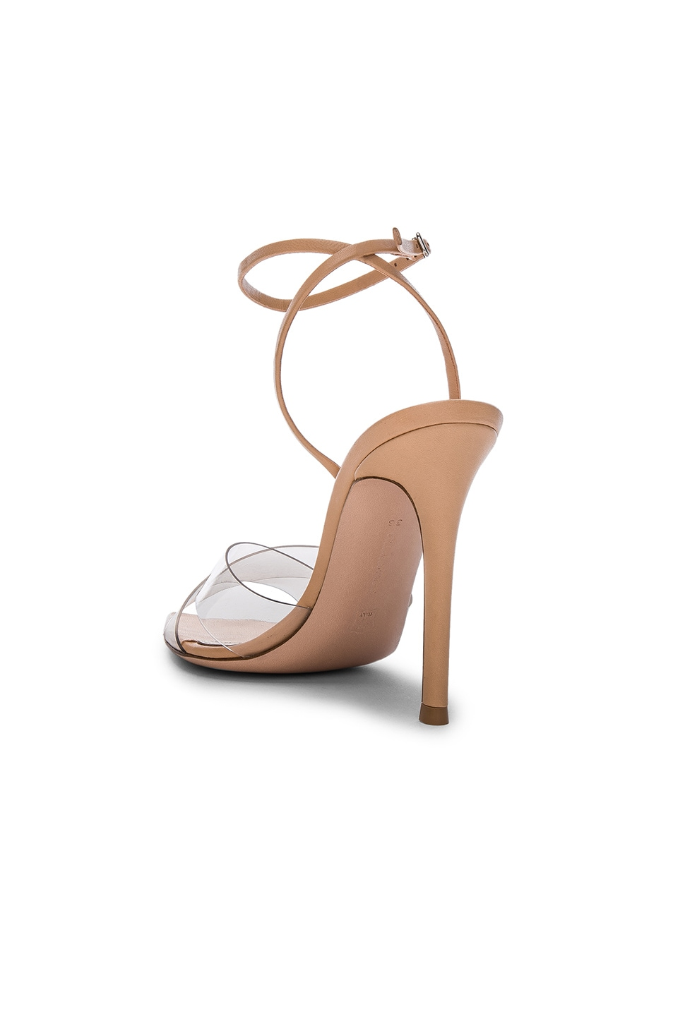 Image 3 of Gianvito Rossi Leather & Plexi Stark Ankle Strap Sandals in Transparent & Nude