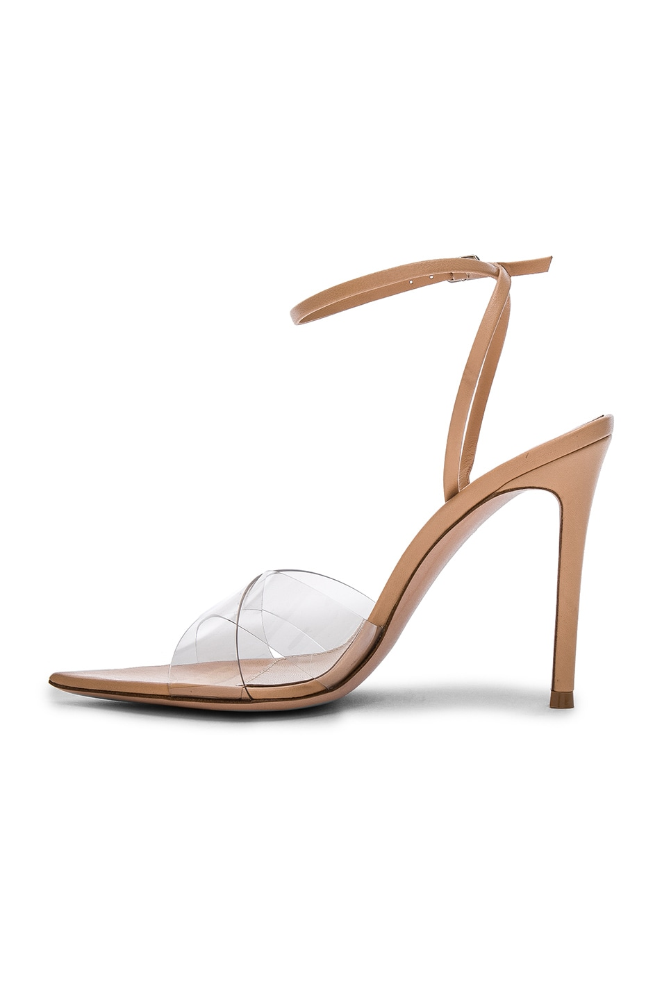 Image 5 of Gianvito Rossi Leather & Plexi Stark Ankle Strap Sandals in Transparent & Nude