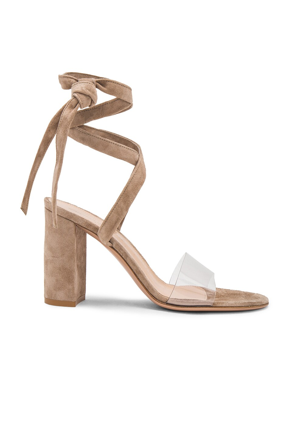 Image 1 of Gianvito Rossi Suede & Plexi Strappy Sandals in Transparent & Bisque