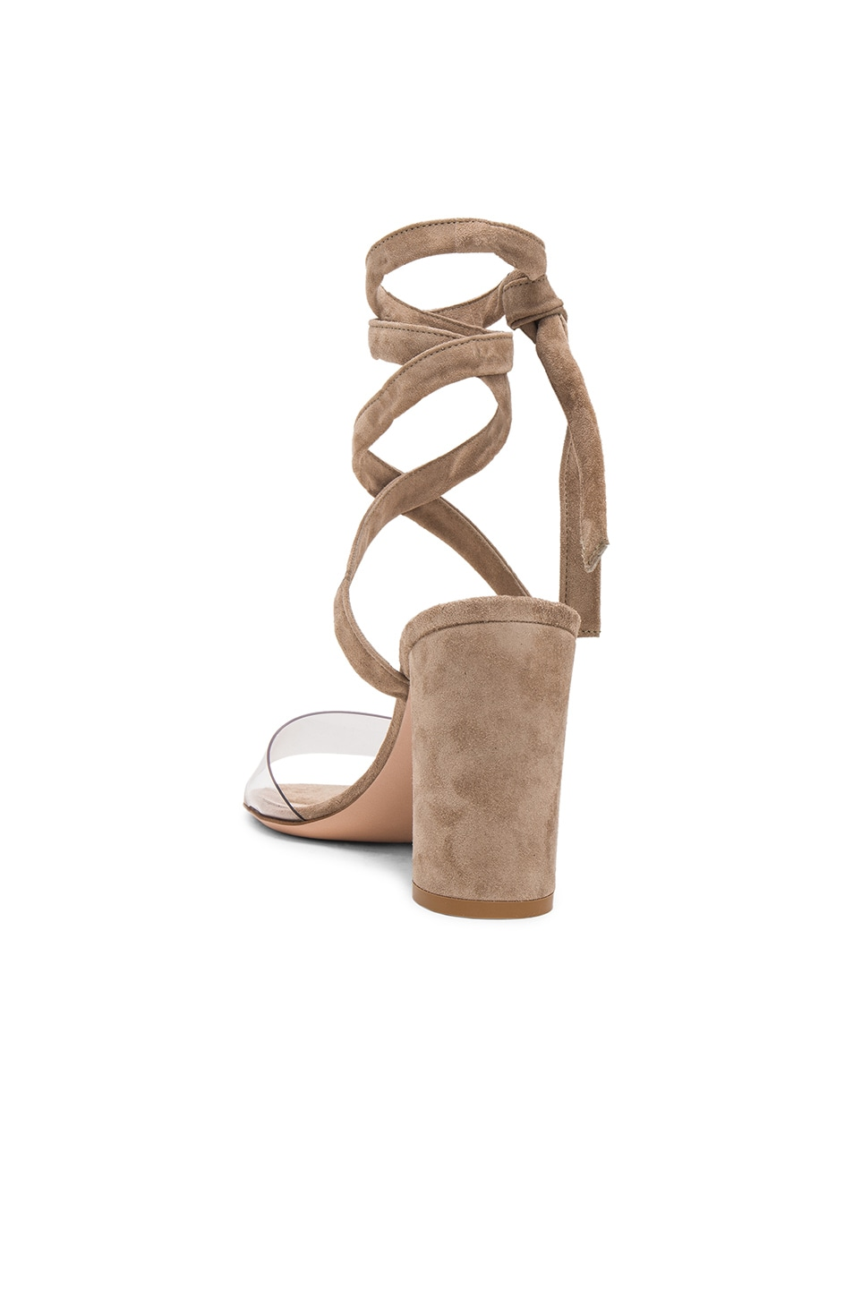 Image 3 of Gianvito Rossi Suede & Plexi Strappy Sandals in Transparent & Bisque
