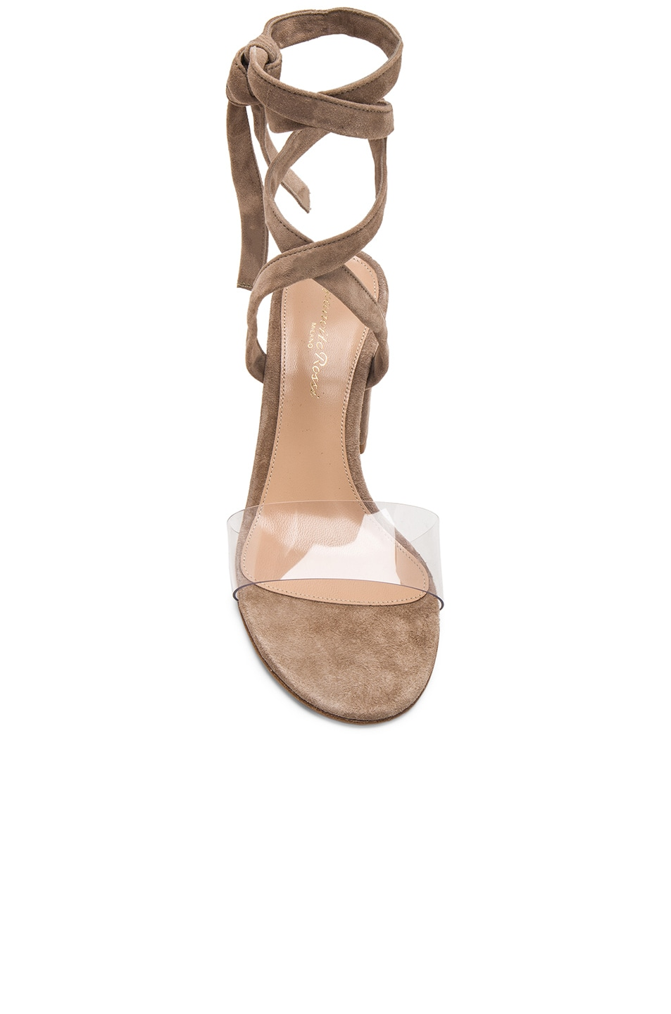 Image 4 of Gianvito Rossi Suede & Plexi Strappy Sandals in Transparent & Bisque