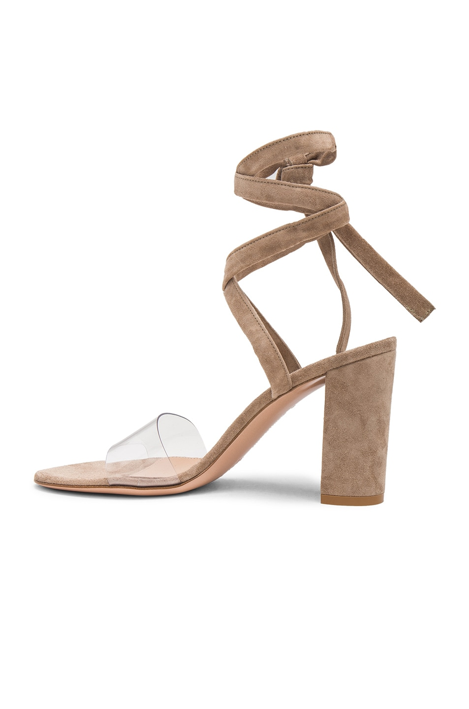 Image 5 of Gianvito Rossi Suede & Plexi Strappy Sandals in Transparent & Bisque