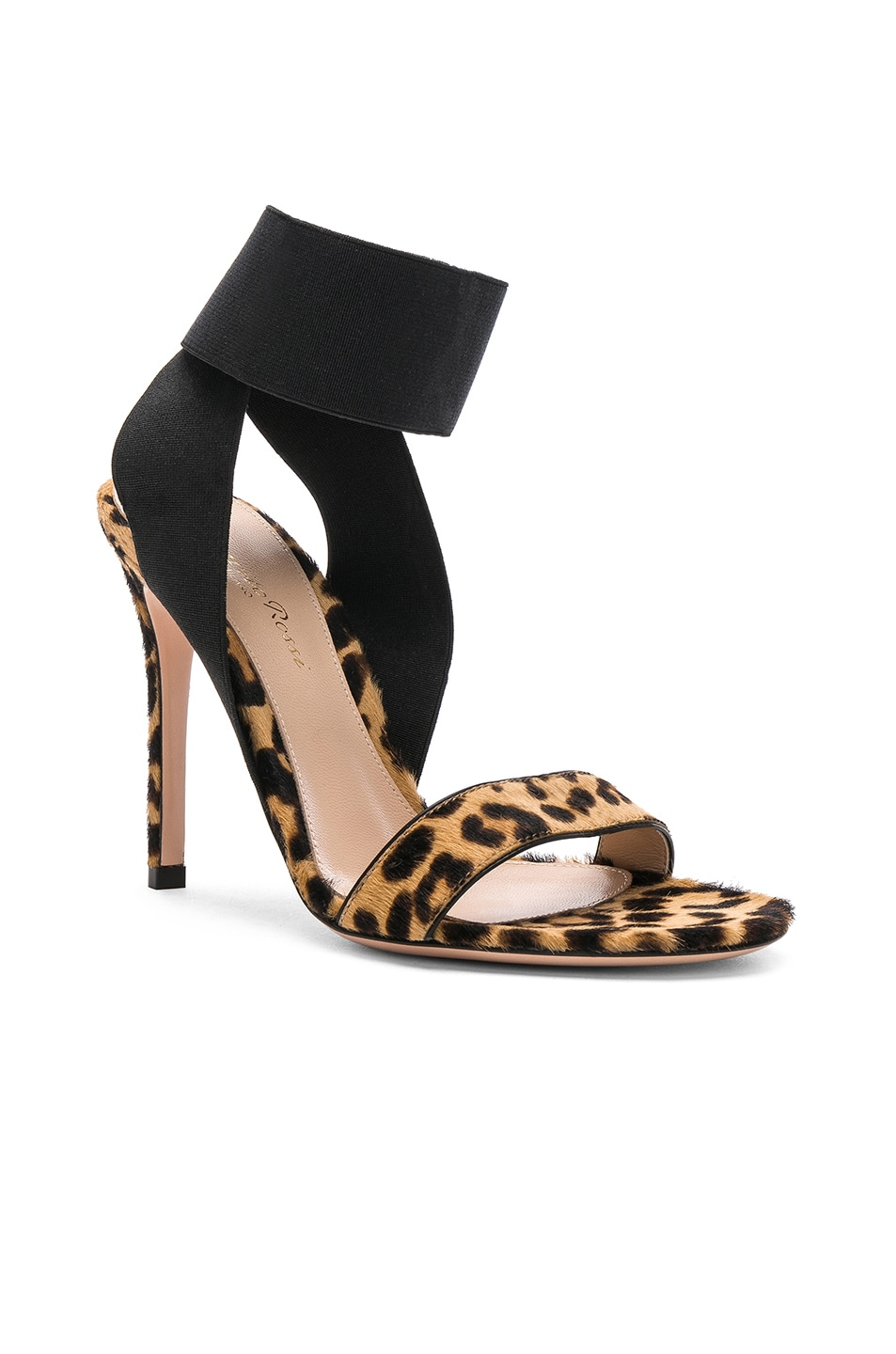 Image 2 of Gianvito Rossi Calf Hair & Elastic Dionne Ankle Strap Sandals in Leopard & Black