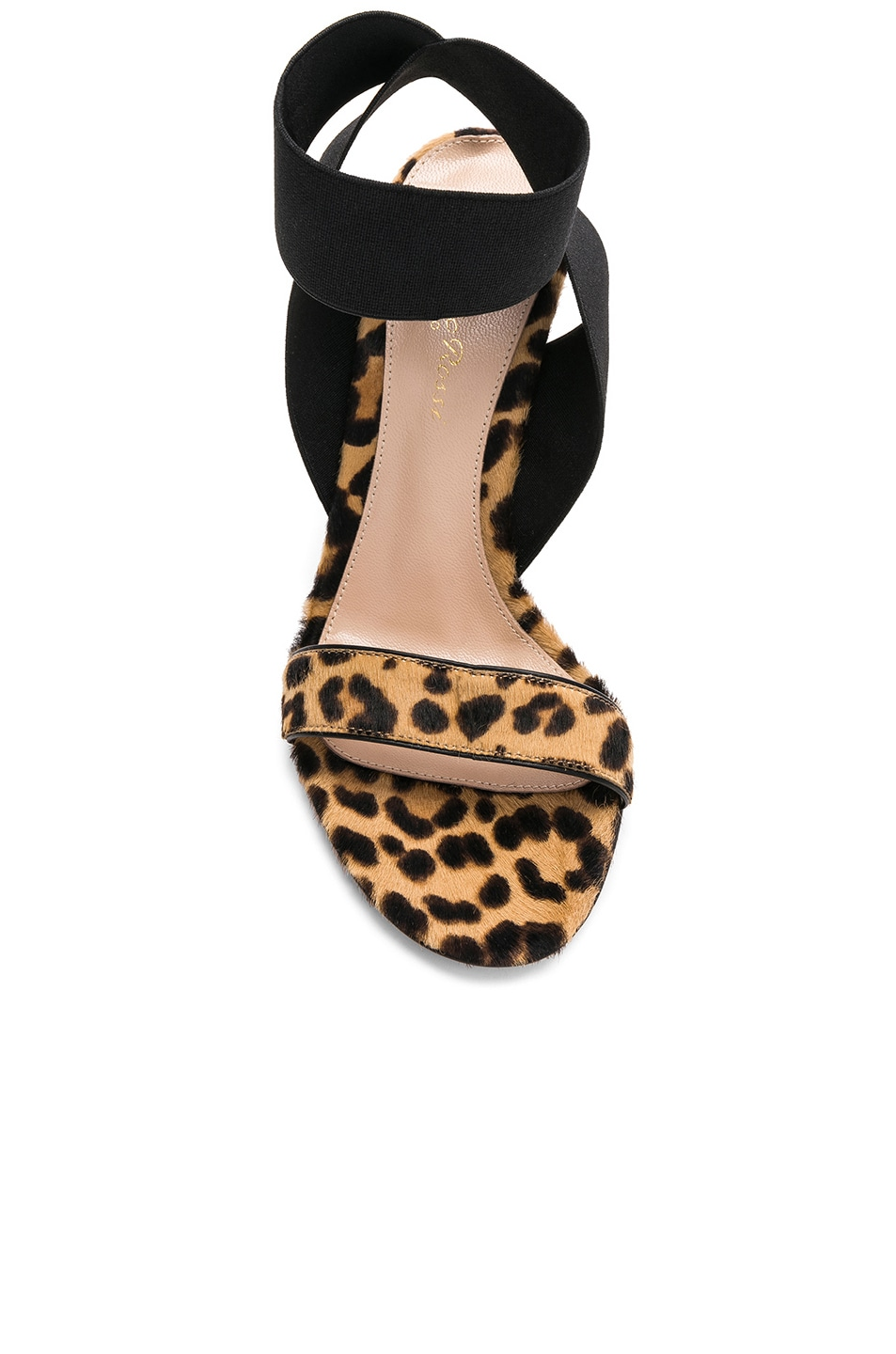 Image 4 of Gianvito Rossi Calf Hair & Elastic Dionne Ankle Strap Sandals in Leopard & Black