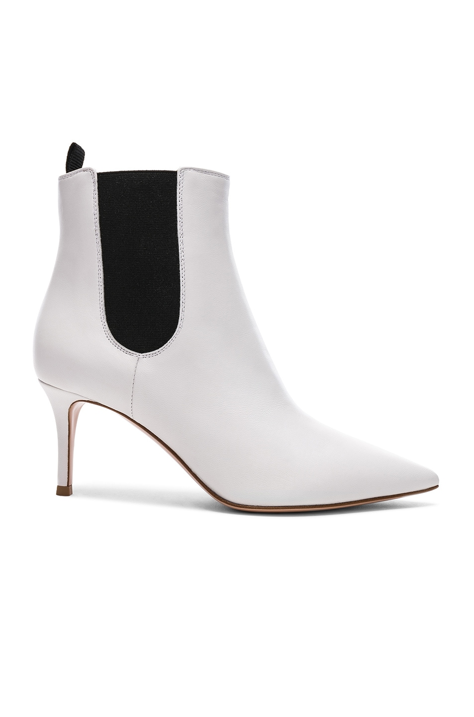 Image 1 of Gianvito Rossi for FWRD Leather Evan Stiletto Ankle Boots in White & Black