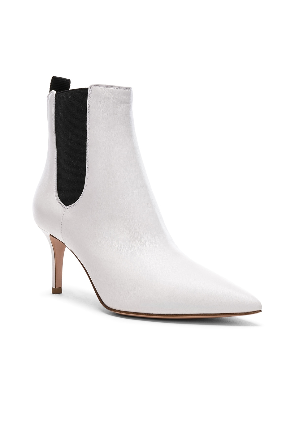 Image 2 of Gianvito Rossi for FWRD Leather Evan Stiletto Ankle Boots in White & Black
