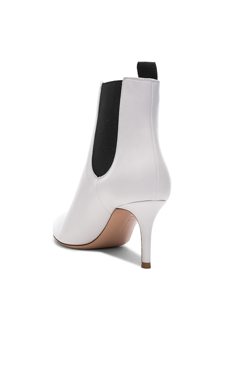 Image 3 of Gianvito Rossi for FWRD Leather Evan Stiletto Ankle Boots in White & Black