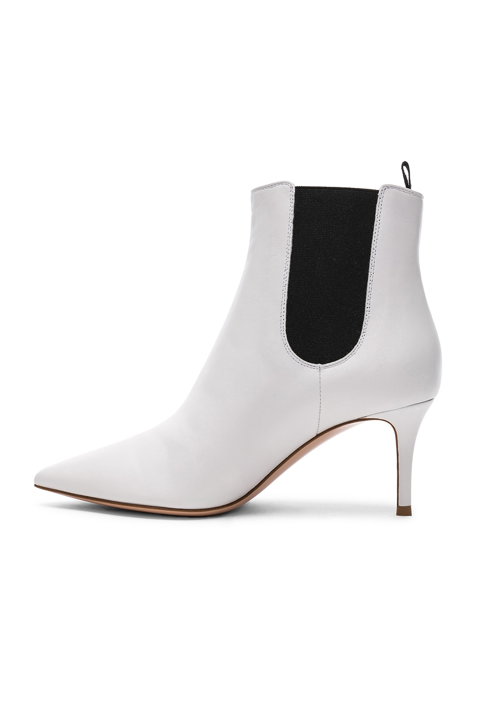 Image 5 of Gianvito Rossi for FWRD Leather Evan Stiletto Ankle Boots in White & Black
