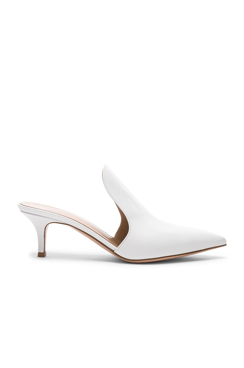 Image 1 of Gianvito Rossi Leather Aramis Kitten Heel Mules in White