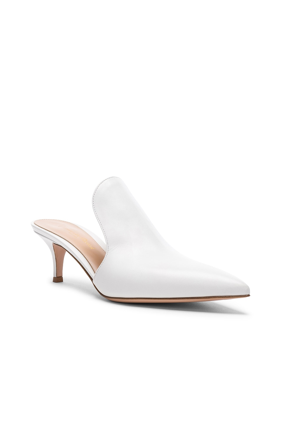 Image 2 of Gianvito Rossi Leather Aramis Kitten Heel Mules in White
