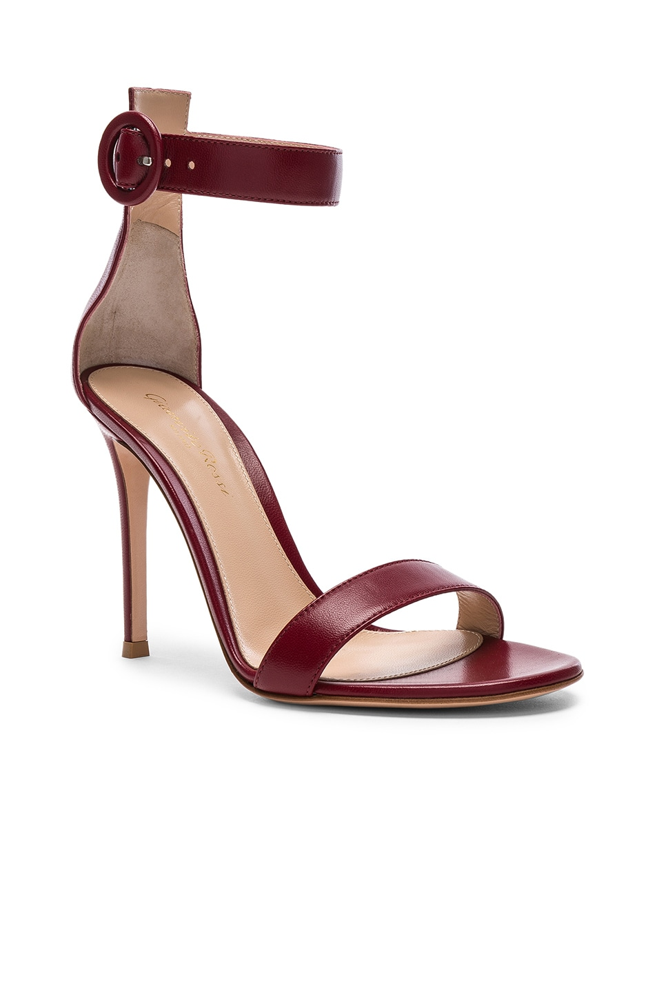 Image 2 of Gianvito Rossi for FWRD Leather Portofino Heels in Syrah