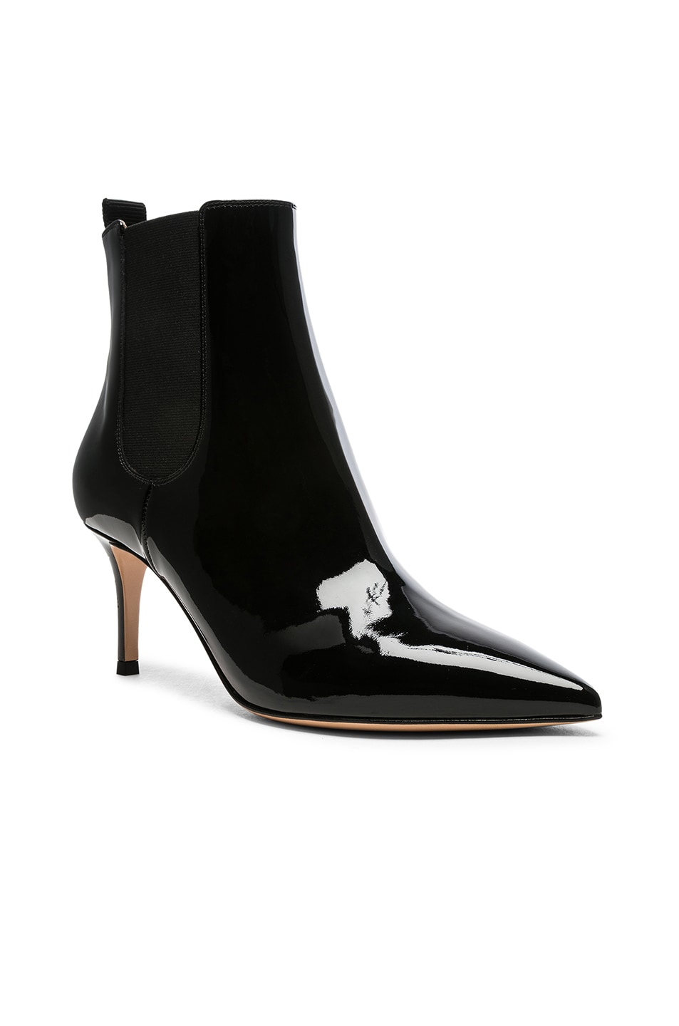 Image 2 of Gianvito Rossi Patent Leather Evan Stiletto Ankle Boots in Black