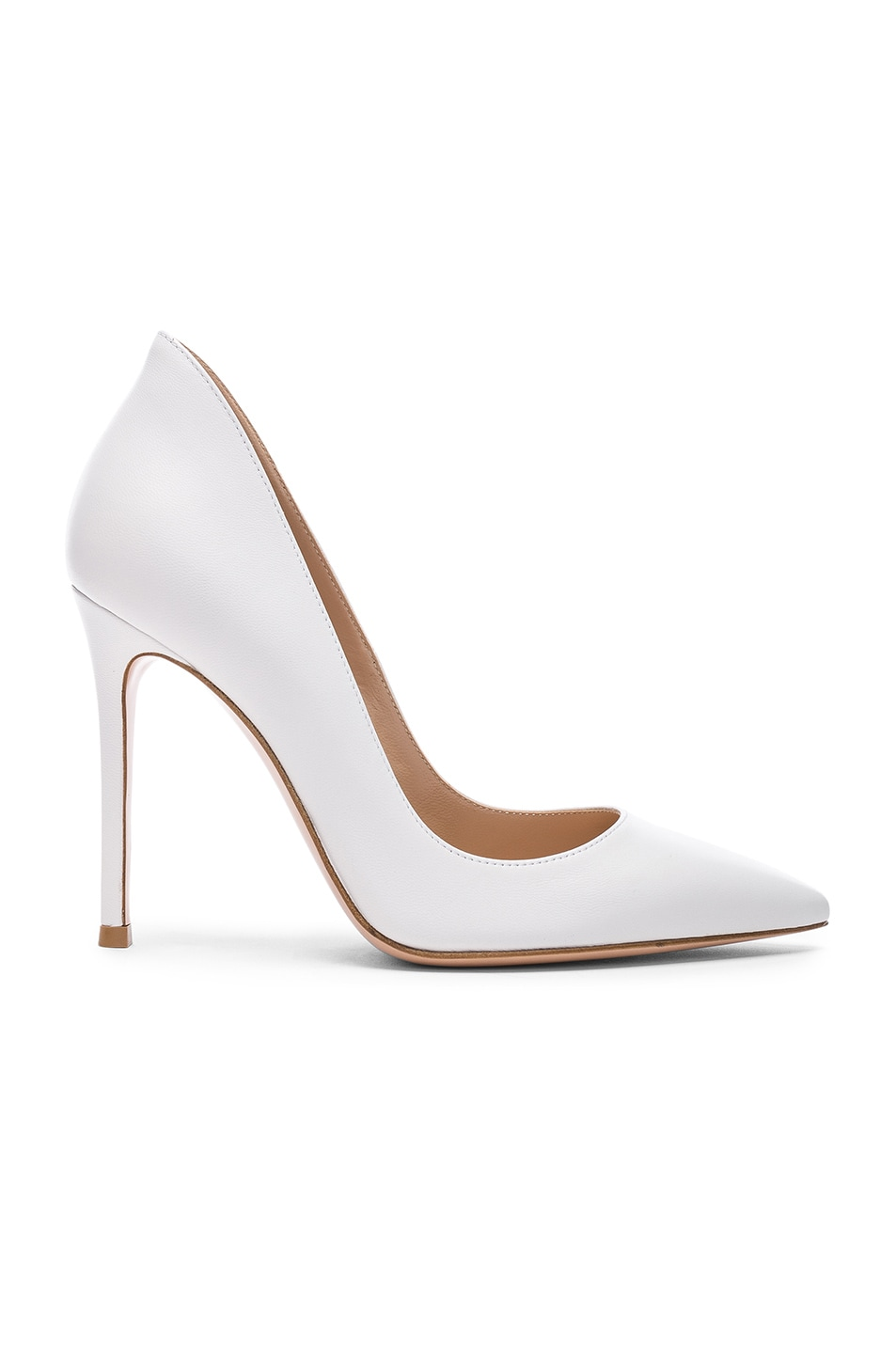 Image 1 of Gianvito Rossi Leather Ellipsis Pumps in White